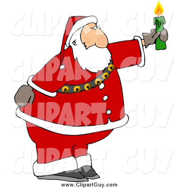 Clip Art of a Santa Claus Holding a Lit Candle