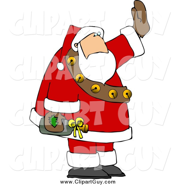 Clip Art of a Santa Waving While Holding a Bottle of Wine