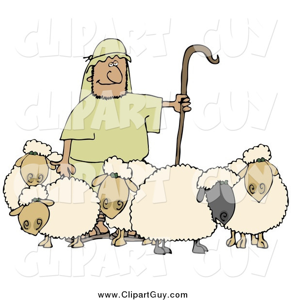 Clip Art of a Shepherd Holding a Staff and Standing with His Sheep