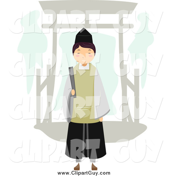 Clip Art of a Shinto Priest by an Arch