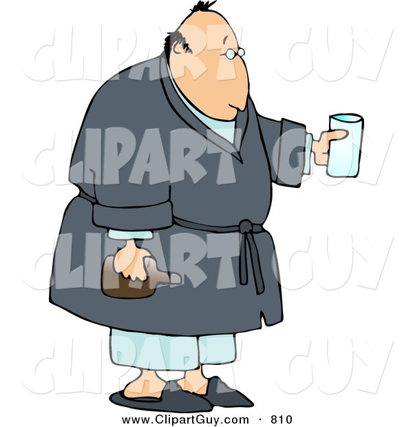 Clip Art of a Sick Man Holding Medicine While Wearing a Robe