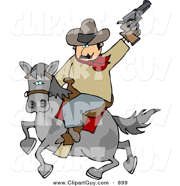 Clip Art of a Silly White Cowboy Riding Horse While Pointing and Shooting Gun into the Air