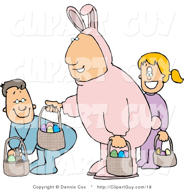 Clip Art of a Smiling Father Wearing a Pink Easter Bunny Costume and Participating in an Easter Egg Hunt with His Son & Daughter