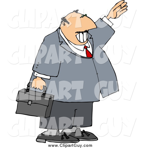 Clip Art of a Smiling White Businessman Waving Hello or Goodbye