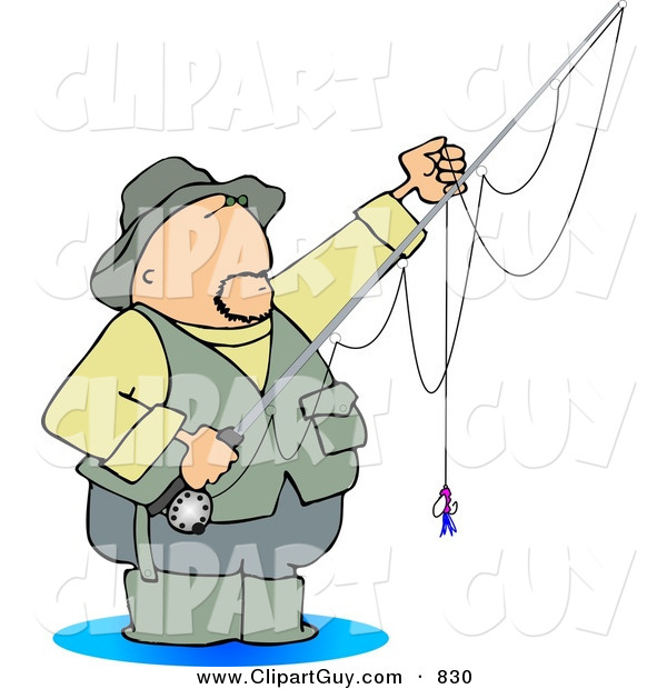 Clip Art of a Sporty Fly Fisherman Standing in Water with a Baited Hook on a Rod and Reel