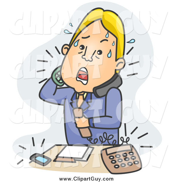 Clip Art of a Stressed Blond White Businessman Answering Phone Calls over Blue