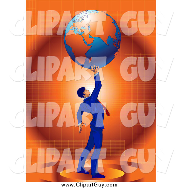 Clip Art of a Strong Successful Businessman in a Blue Suit Holding up Planet Earth over Orange
