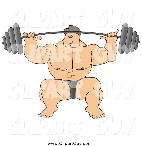Clip Art of a Strong White Male Bodybuilder Lifting Heavy Weights
