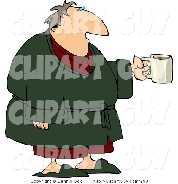 Clip Art of a Tired Man Wearing a Green Housecoat and Holding a Cup of Coffee During the Early Morning of His Day