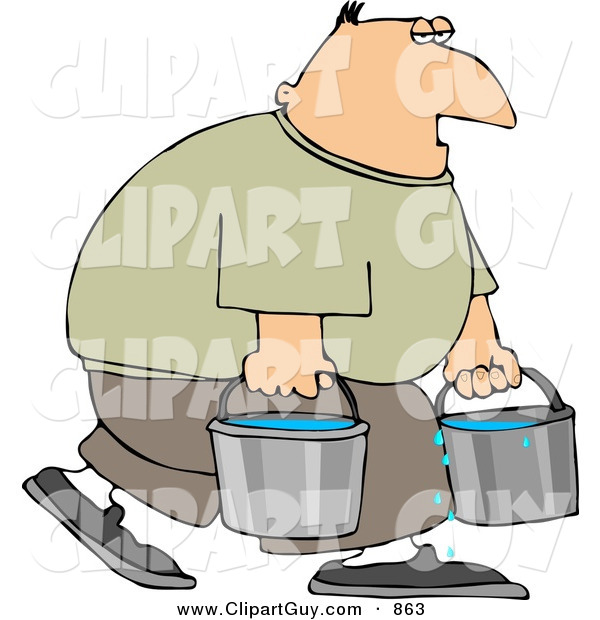 Clip Art of a Tired White Man Carrying Buckets of Water