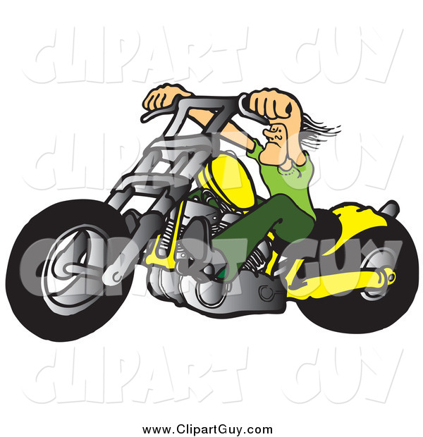 Clip Art of a Tough White Biker Dude Resting His Arms on His Chopper Handles While Taking a Ride on His Yellow Motorcycle