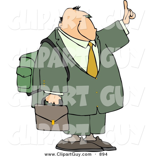 Clip Art of a Traveling White Businessman Trying to Get a Ride by Holding Hand out