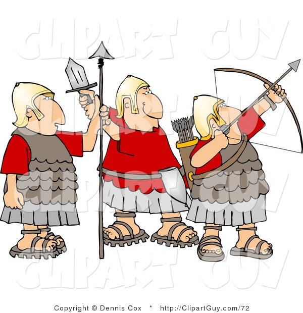 Clip Art of a Trio of Roman Soldiers Armed with Bow & Arrow, Sword, and Spear