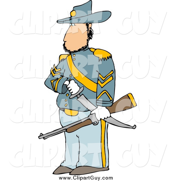 Clip Art of a Union Soldier with a Sword and Rifle