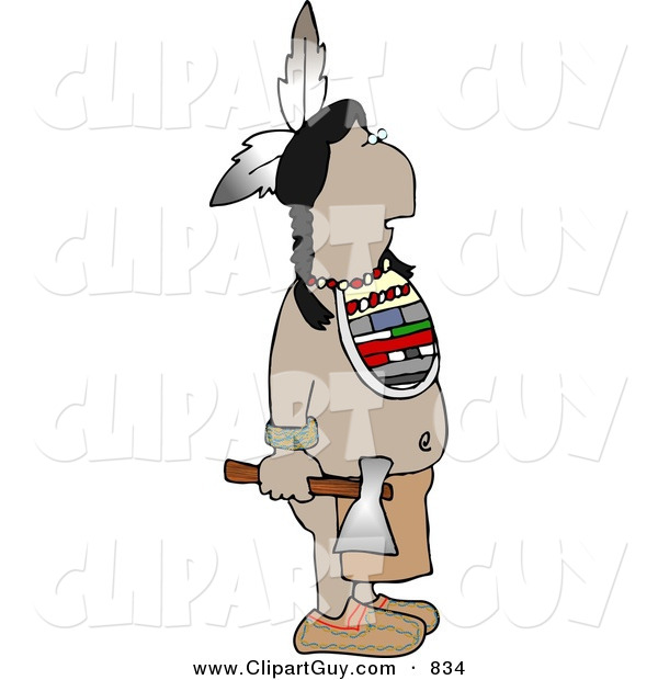 Clip Art of a Warrior Indian Standing with a Hatchet in His Hand