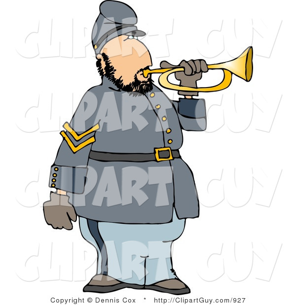 Clip Art of a White American Civil War Soldier Blowing into a Bugle Horn