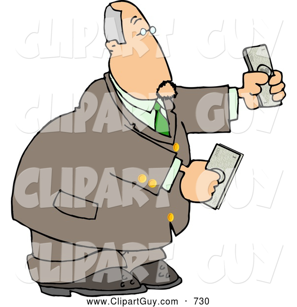 Clip Art of a White Banker Businessman Holding Cash Money in Both Hands