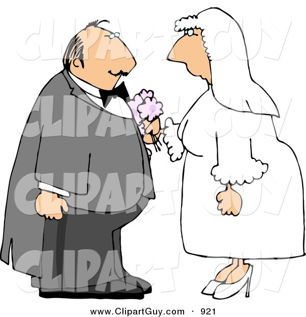 Clip Art of a White Bride and Groom on Their Wedding DayWhite Bride and Groom on Their Wedding Day