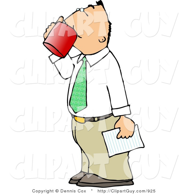 Clip Art of a White Businessman Holding a Letter and Drinking a Cup of Coffee