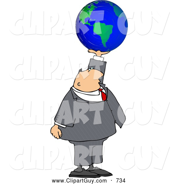 Clip Art of a White Businessman Holding the World in His Hand - Concept