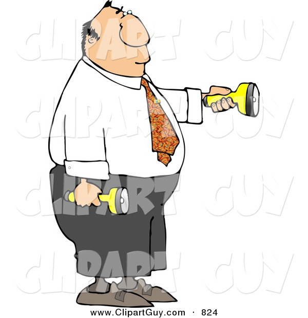 Clip Art of a White Businessman Shining Flashlights in Dark Places