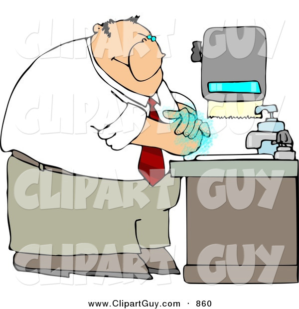 Clip Art of a White Businessman Washing His Hands with Soap