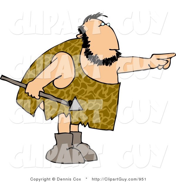 Clip Art of a White Caveman Holding a Spear and Pointing His Finger at Something