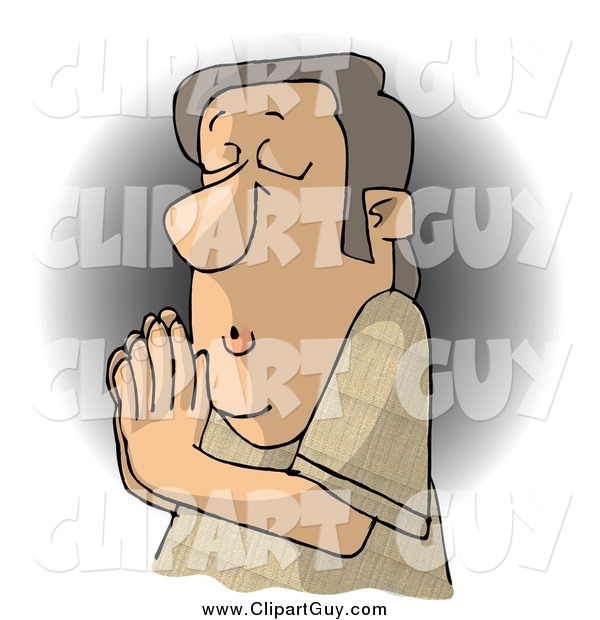 Clip Art of a White Christian Man Praying to Jesus