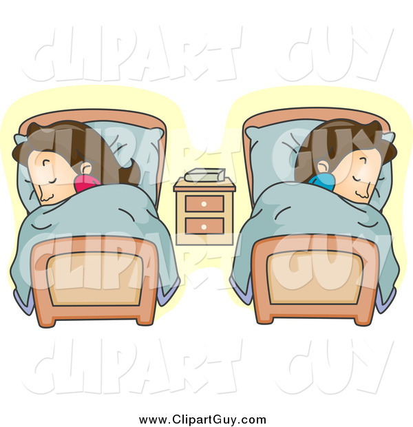Clip Art of a White Couple Sleeping in Separate Beds