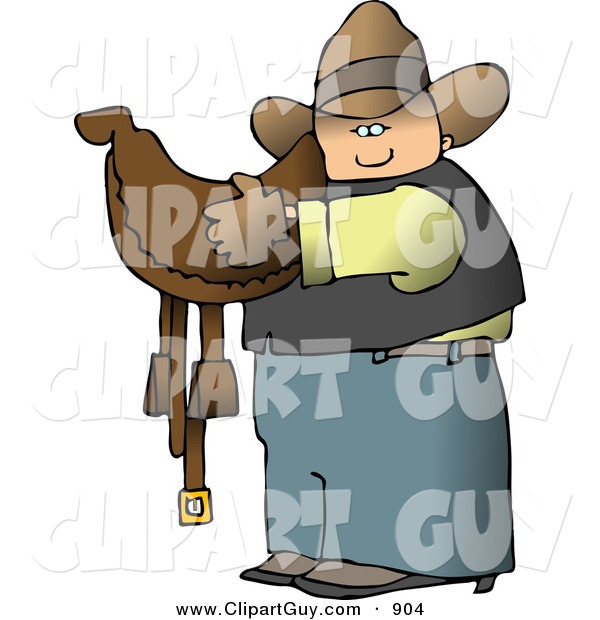 Clip Art of a White Cowboy Carrying a Brown Leather Horse Saddle