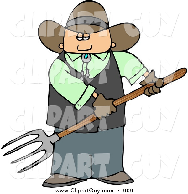 Clip Art of a White Cowboy Farmer Guy Holding a Pitchfork