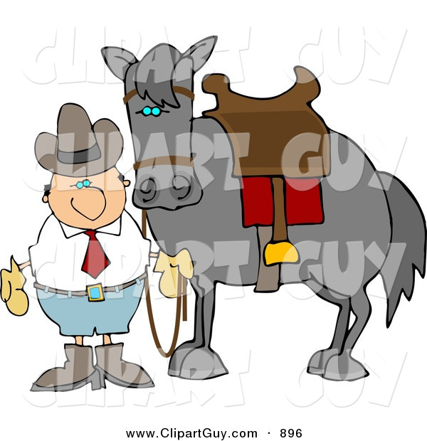 Clip Art of a White Cowboy Man Standing Beside a Saddled Horse