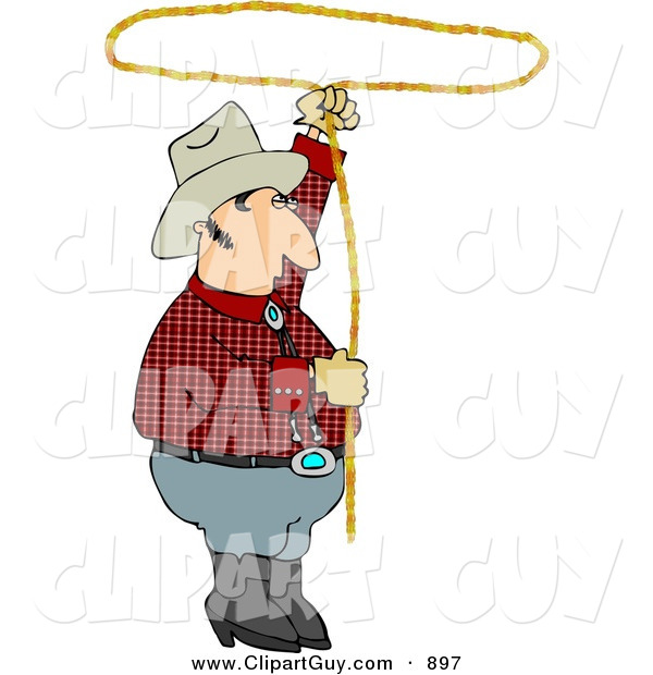 Clip Art of a White Cowboy Practicing with a Lariat Rope