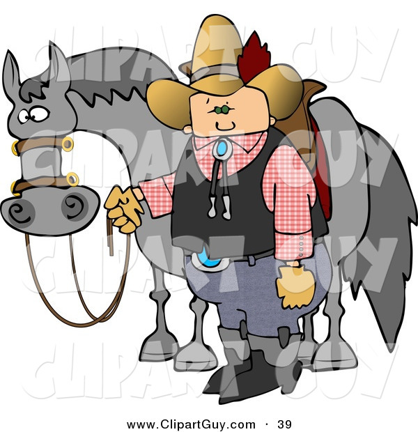 Clip Art of a White Cowboy Standing Beside His Saddled Horse While Holding the Reins