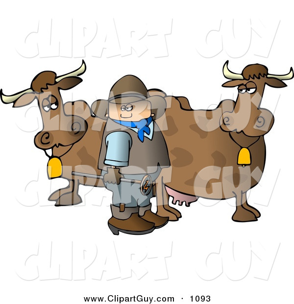 Clip Art of a White Cowboy Standing Beside Milk Cows with a Hot Branding Iron