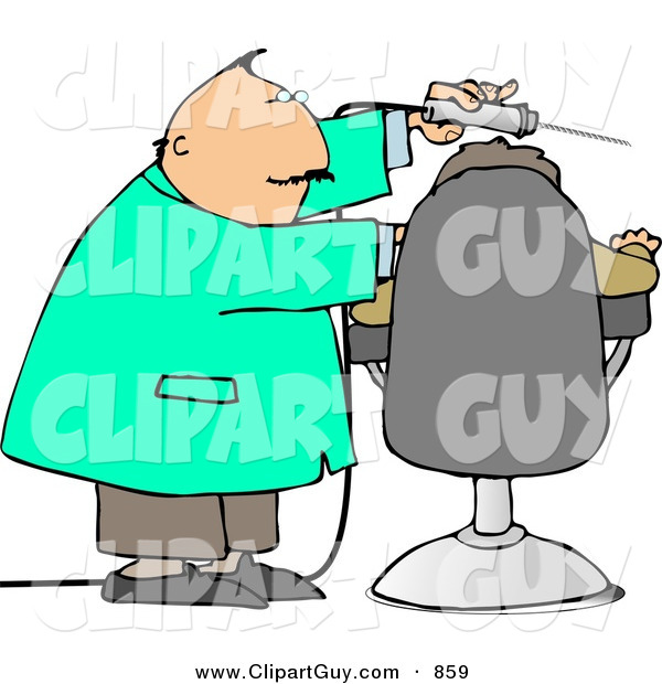 Clip Art of a White Dentist Using Big Drill on Patient's Teeth