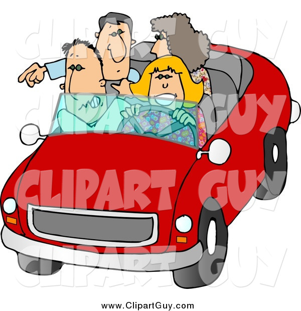 Clip Art of a White Family and Friends Going on a Road Trip