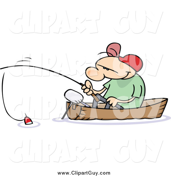 Clip Art of a White Guy Fishing in a Boat