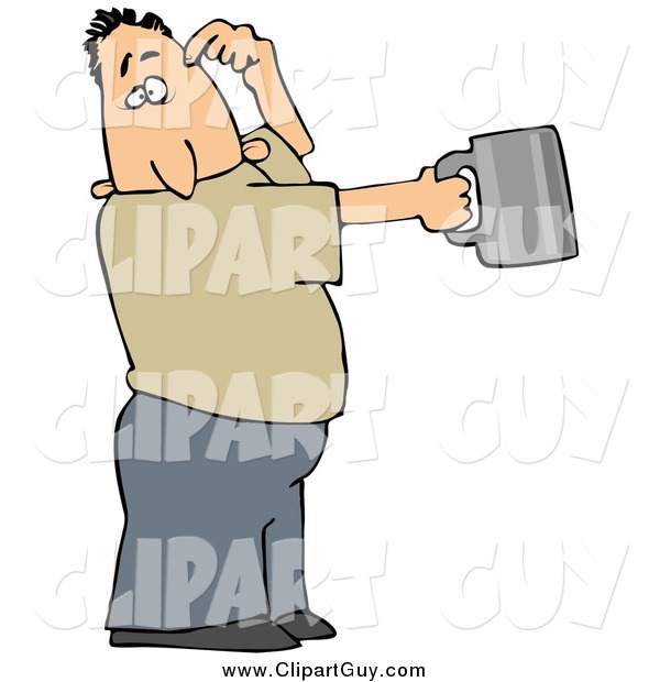 Clip Art of a White Guy Scratching His Head and Holding out a Tin Cup, Hoping for Financial Assistance and Loans