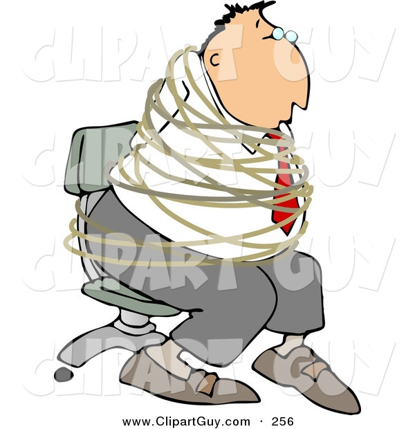 Clip Art of a White Hostage Businessman Tied with Rope to a Chair