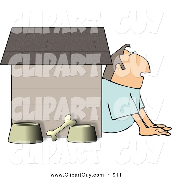 Clip Art of a White Husband in Trouble with His Wife, Sitting Outside of a Doghouse with a Bone and Food & Water Bowls