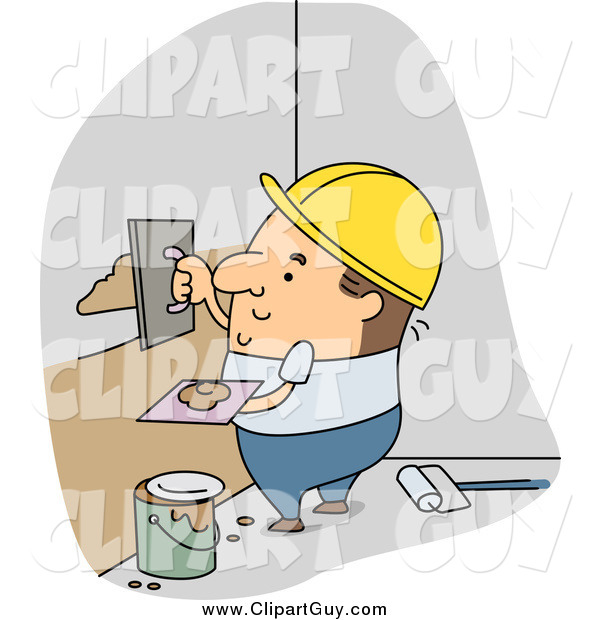 Clip Art of a White Male Builder Applying Plaster