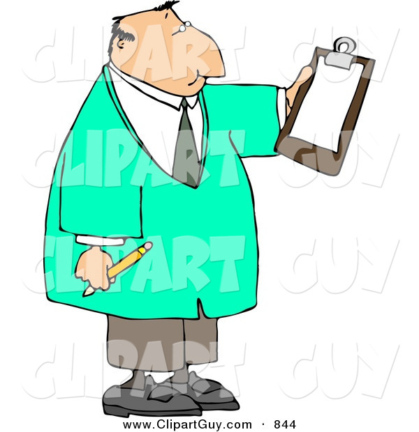 Clip Art of a White Male Doctor Reading Checklist on Clipboard and Holding a Pencil
