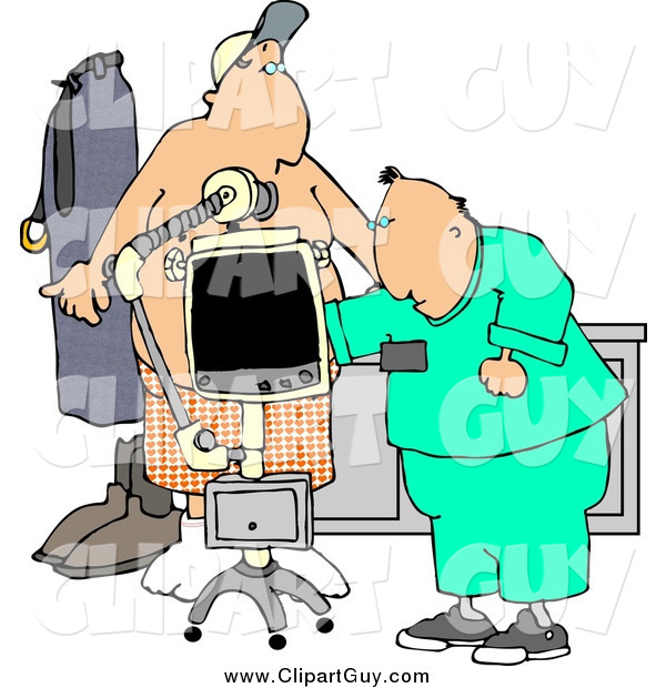 Clip Art of a White Male Doctor Taking Getting an X-ray of His Patients Stomach/Chest Area