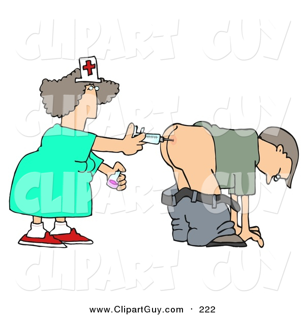 Clip Art of a White Male Patient Getting Shot in the Butt by a Nurse with a Syringe
