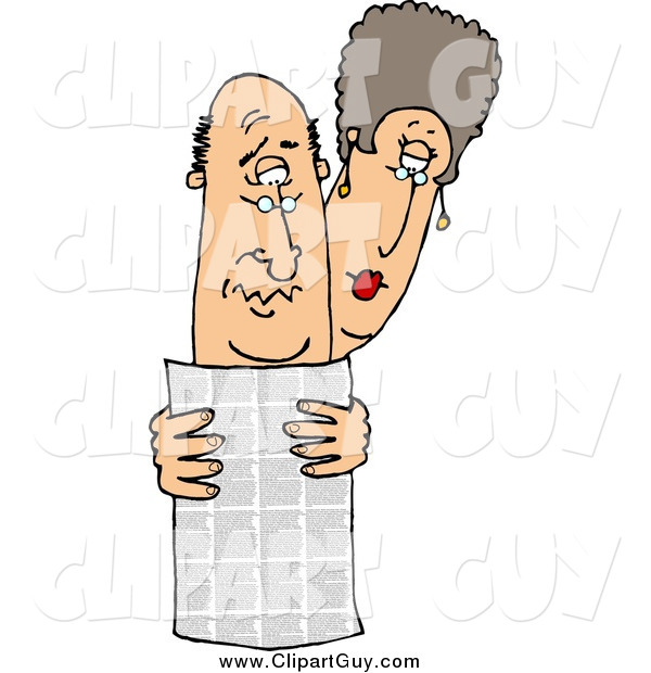 Clip Art of a White Man and Woman Reading the Local Newspaper Together