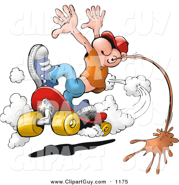 Clip Art of a White Man Doing a Skateboarding Stunt and Spitting Chewing Tobacco on the Ground