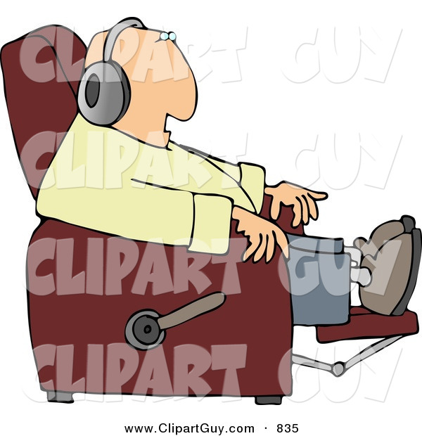 Clip Art of a White Man Sitting in a Recliner and Wearing Earphone
