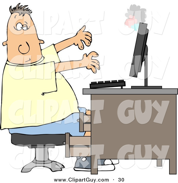 Clip Art of a White Man's Computer Monitor Blowing up in His Face