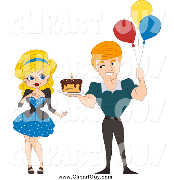 Clip Art of a White Pinup Man Holding a Birthday Cake and Balloons